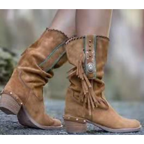 Women's Boots Summer Chunky Heel Open Toe Daily PU Camel / Black / Khaki