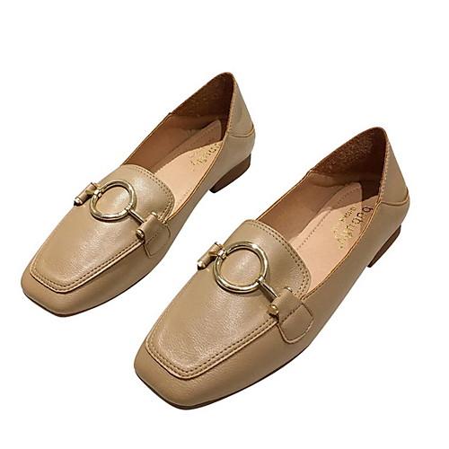 Women's Loafers & Slip-Ons Spring & Summer Low Heel Square Toe Daily Pigskin Khaki / Beige