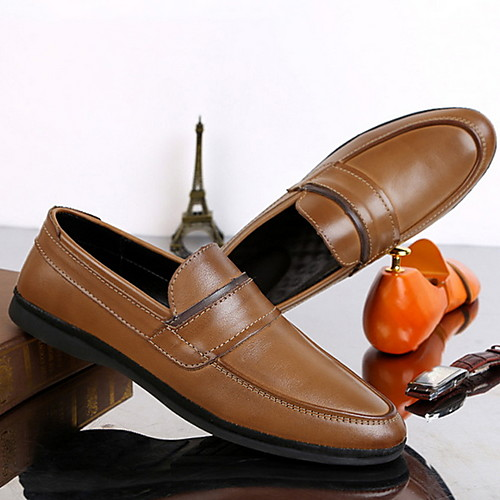 Men's Spring / Summer Classic Daily Loafers & Slip-Ons PU Black / Khaki