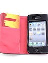 Wallet PU Leather Case for iPhone 4 (Black/Red)