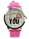 I Love You Pattern PU Leather Band Cute Quartz Lady's Wrist Watch - Rose Red Cool Watches Unique Watches