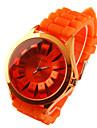 chrysanthème de style cadran silicone bande de quartz analogique montre-bracelet des femmes (orange)