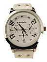 мода Корея Кожа PU группы стиле красивый кварца мужчины женщины наручные часы - белый