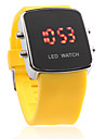 Silicone Band Modern Women Men Unisex Jelly Sport Style LED Wrist Watch - Yellow