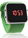 남녀 빨강 디지털 스퀘어 케이스 녹색 실리콘 악대 손목 시계를지도했다