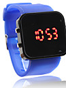 Unisex LED Digital Square Case Blue Silicone Band Wrist Watch Cool Watch Unique Watch
