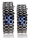 Black Metal Strip Digital Lava Style Iron Sport Couple Blue LED Faceless Wrist Watch Cool Watches Unique Watches