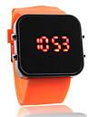 силиконовой лентой женщин мужчин унисекс желе спортивный стиль квадратное зеркало привело наручные часы - оранжевый