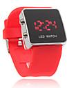 силиконовой лентой женщин мужчин унисекс желе спортивный стиль квадратных привело наручные часы - красный