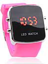 unisex Digital LED vermelho quadrado caso rosa silicone banda relógio de pulso