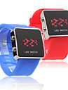 Silicone Band Love Couple Jelly Sport Style Square LED Wrist Watch - Blue & Red