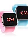 부부 실리콘 밴드 젤리 스포츠 스타일의 사각 거울은 손목 시계를 이끌고 - 밝은 파란색과 분홍색