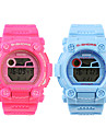 résistant à l'eau numériques silicone sportif montres-bracelet du couple (1 paire, bleu et rose)