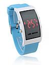 mené unisexe rouge bleu cas montre-bracelet de bande de silicone de rectangle numérique