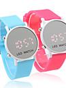 paire de montres sportives de style led rouge au poignet de gelée - bleu clair & pêche rouge