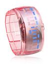 unisex led blu orologio da polso fascia di plastica digitale (rosa)