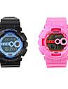 Coppia di orologi digitali, impermeabili con luce notturna - Rosa e Blu