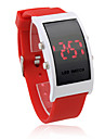 Soft Silicone Wristband Red LED Wrist Watch - Red