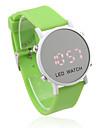 unisex geléia de estilo desportivo rodada luz cara espelho led vermelho Relógio de pulso - verde