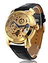 남성 스켈레톤 시계 기계식 시계 중공 판화 모조 다이아몬드 오토메틱 셀프-윈딩 PU 밴드 럭셔리 블랙