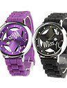 Pair of Hollow Out Star Pattern Design Quartz Wrist Watches with Crystal Decoration - Black and Purple Cool Watches Unique Watches