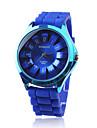 kobiet chryzantema styl zespół nadgarstka kwarcowy zegarek silikonowy niebieski
