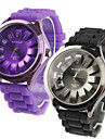Pair of Chrysanthemum Shaped Metal Dial Design Quartz Wrist Watches - Black and Purple Cool Watches Unique Watches
