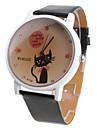 Women's Cartoon Cat Pattern Black PU Band Quartz Analog Wrist Watch Cool Watches Unique Watches