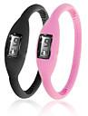 이온 패션 남여 실리콘 젤리 스포츠 자동 손목 시계의 쌍 - 블랙 & 핑크