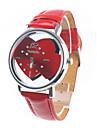 Mulheres Relógio Casual Quartzo Banda Desenhos Animados Heart Shape Vermelho