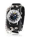 militar de couro preto faixa de relógio de pulso de quartzo com caixa desmontável