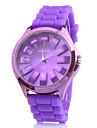 Fashionable Quartz Wrist Watch with Purple Silicone Band