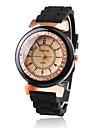 Women's Diamond Decoration Black Silicone Band Quartz Wrist Watch
