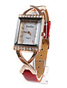 Red PU Leather Band Women's Quartz Wrist Watch with Crystal Decoration