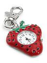 morango mulheres elegantes do pc quartzo chaveiro relógio (vermelho)