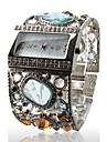 Montre-Bracelet pour Femme, Bracelet en Argent avec Strass Colorés