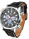 style décontracté cadran coloré la montre-bracelet noir bande d'unité centrale de quartz des hommes
