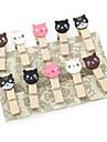 만화 고양이 모양의 미니 나무 집게 (12 팩)