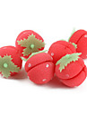 6 조각의 딸기 모양의 스폰지 헤어 케어 롤러 컬러 롤