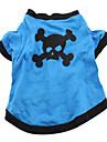 Dog Costume / Shirt / T-Shirt / Outfits Blue Dog Clothes Spring/Fall Skulls / Animal Cosplay / Halloween
