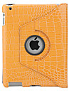 360 Degree Rotable Crocodile Skin PU Leather Case and Stand for the New iPad and iPad 2 (Gold)