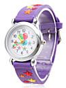 Детские кварцевые наручные часы со звездами и воздушными шарами. На сиреневом силиконовом ремешке