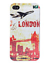 Vintage Tower and Plane Pattern Hard Case for iPhone 4 and 4S (Multi-Color)