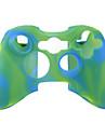 capa de silicone protetora dual-cores para xbox 360 controlador (verde e azul)