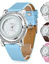 oca das mulheres de couro pu estilo analógico relógio de pulso de quartzo (cores sortidas)