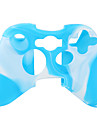 Protective Dual-Color Silicone Case for Xbox 360 Controller (White and Blue)