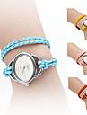 элегантные плетеные женский стиль веревку Кожа PU группа аналоговые кварцевые часы браслет (разных цветов)