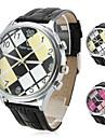 motif en treillis coloré unisexe noir PU bande de montre-bracelet à quartz (couleurs assorties)