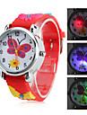 Детские кварцевые аналоговые часы с бабочкой и светодиодной подсветкой (красные)