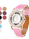 femmes creuse cuir PU analogique montre-bracelet à quartz avec cristaux (couleurs assorties)